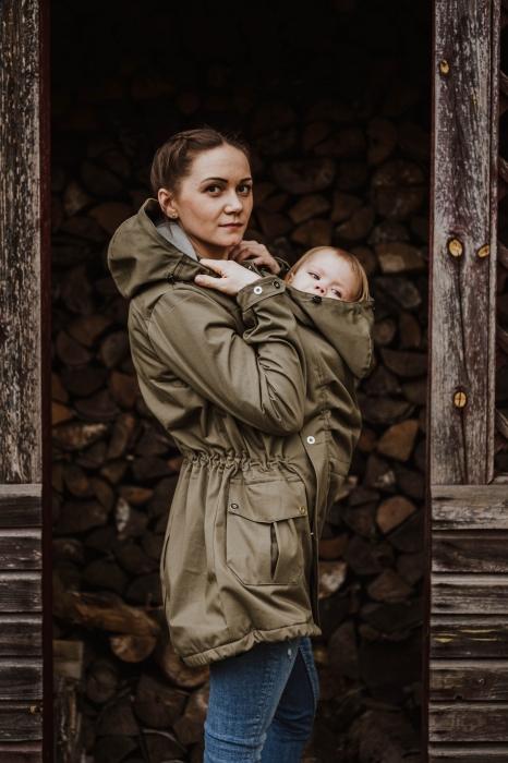 Geaca Babywearing Lenny Lamb- Khaki & Choice- marime XS 3