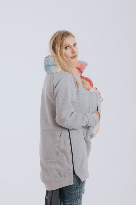 Hanorac Babywearing Lenny Lamb- marime M- Grey Simphony Rainbow Light 3