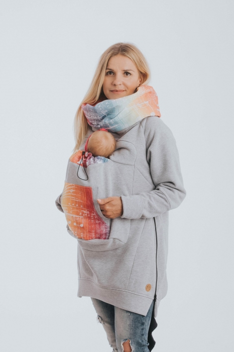Hanorac Babywearing Lenny Lamb- marime M- Grey Simphony Rainbow Light 4