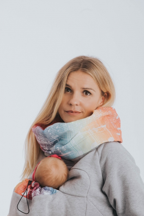 Hanorac Babywearing Lenny Lamb- marime M- Grey Simphony Rainbow Light 5