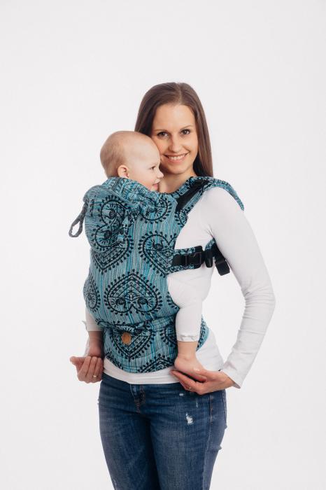 LennyGo Marsupiu Ergonomic FOLK HEARTS - MIDSUMMER NIGHT, baby size 0