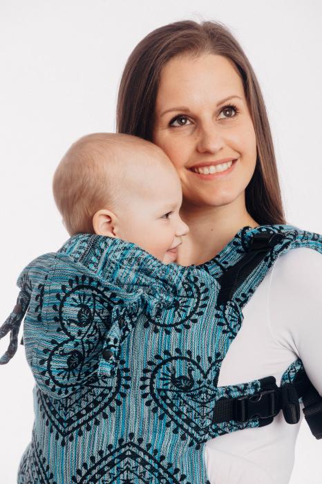 LennyGo Marsupiu Ergonomic FOLK HEARTS - MIDSUMMER NIGHT, baby size 2