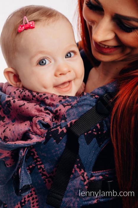 LennyGo Marsupiu Ergonomic- Wawa Blue-Grey & Pink- baby size 4
