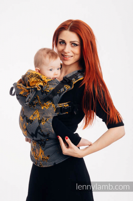 LennyGo Marsupiu Ergonomic- Wawa Grey & Mustard- baby size 3