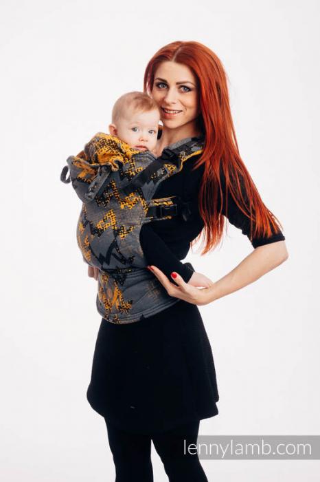 LennyGo Marsupiu Ergonomic- Wawa Grey & Mustard- baby size 0