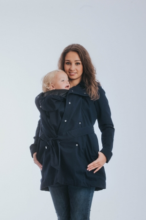 Geaca trench Babywearing Lenny Lamb- Bleumarin- marime XS0