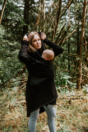 Hanorac fleece Babywearing Black with Wild Soul Daedalus -marime L3