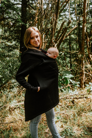 Hanorac fleece Babywearing Black with Wild Soul Daedalus -marime L1