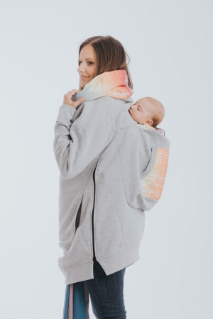 Hanorac Babywearing Lenny Lamb- marime M- Grey Simphony Rainbow Light1