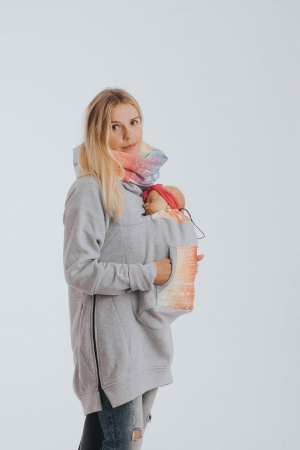 Hanorac Babywearing Grey Simphony Rainbow Light- marime M2