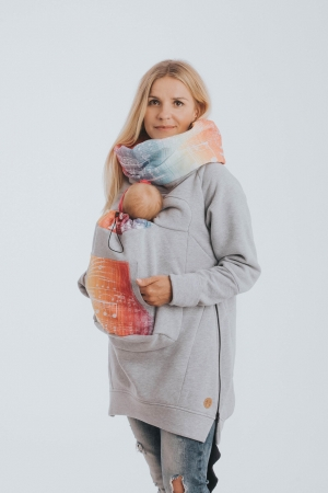 Hanorac Babywearing Lenny Lamb- marime M- Grey Simphony Rainbow Light4