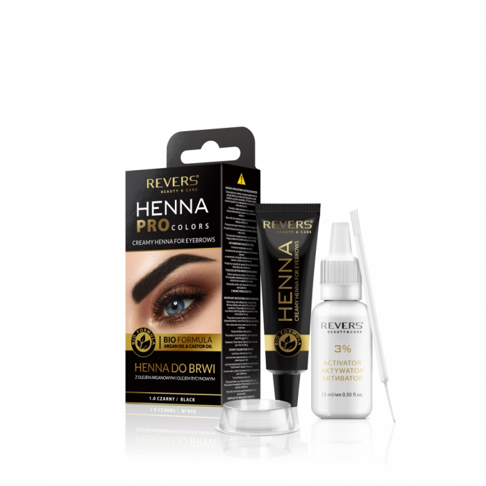 Vopsea gene si sprancene Revers Henna Pro Colors 1.0 negru [0]