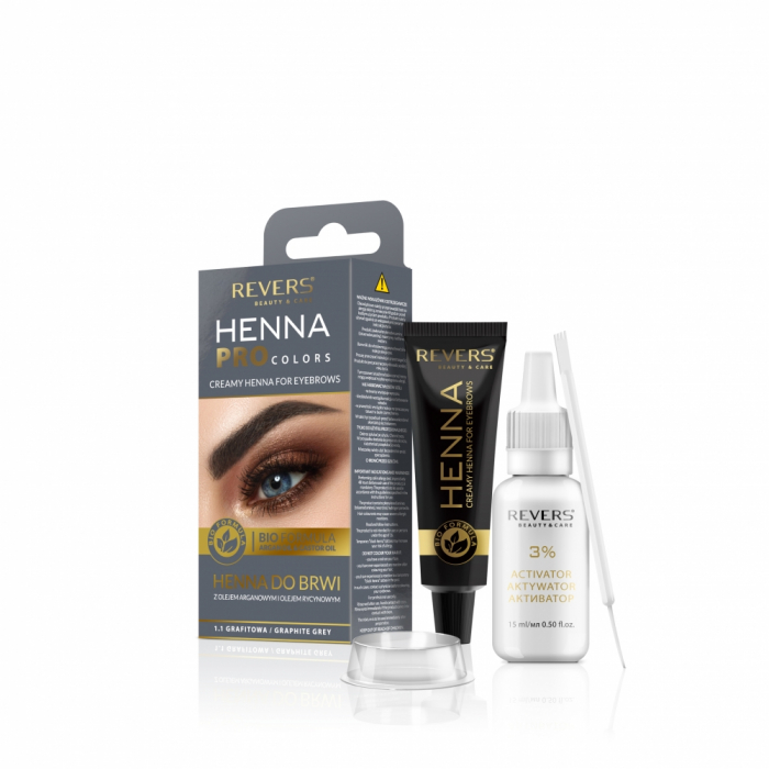 Vopsea gene si sprancene Revers Henna Pro Colors 1.1 gri [0]