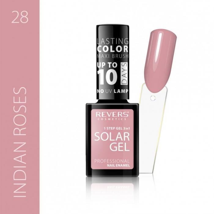 Lac de unghii Solar Gel 3 in 1 Revers 28 Indian Roses 12 ml [0]
