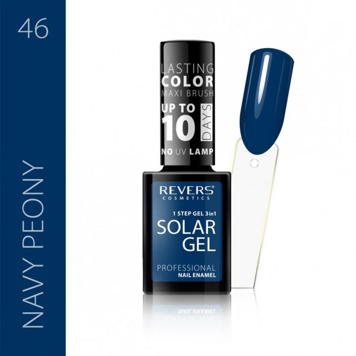 Lac de unghii Solar Gel 3 in 1 Revers 46 Navy Peony 12 ml [0]