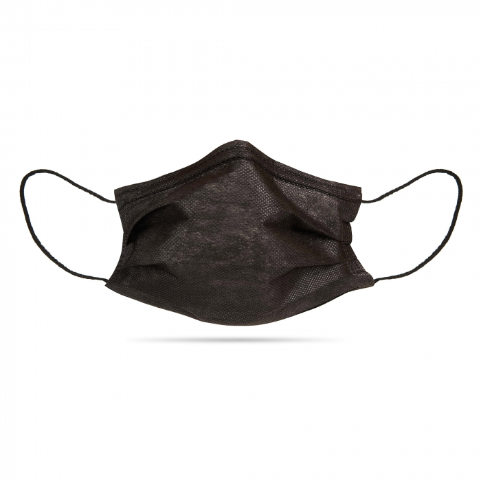 Masti faciala neagra nesterila de unica folosinta 3 pliuri cu elastic [3]