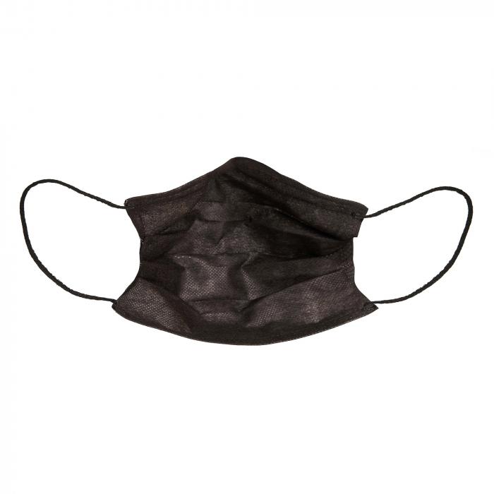 Masti faciala neagra nesterila de unica folosinta 3 pliuri cu elastic [2]