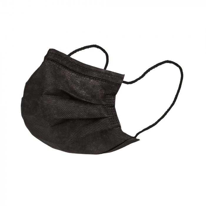 Masti faciala neagra nesterila de unica folosinta 3 pliuri cu elastic [0]