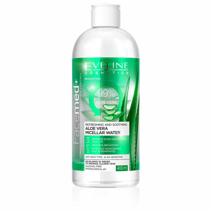 Apa micelara cu aloe vera Eveline Facemed+ 3 in 1 400 ml [0]