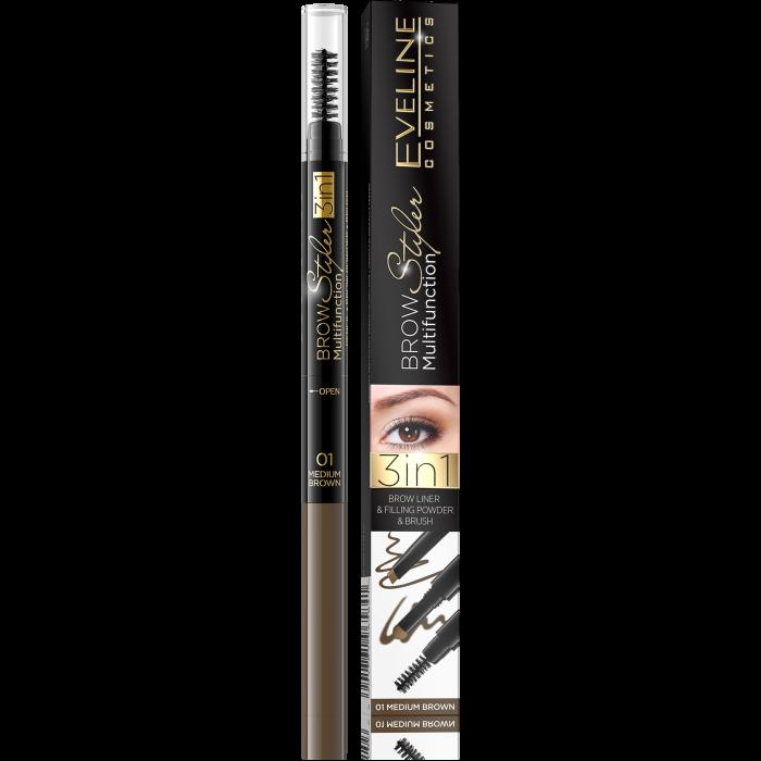 Creion multifunctional pentru sprancene Eveline 3 in 1 Brow Styler [0]
