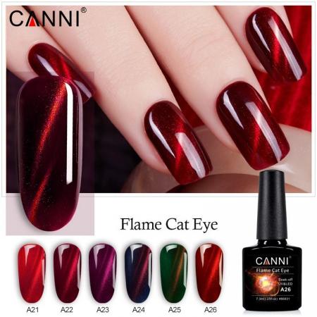 Oja semipermanenta Canni Flame Cat Eye A26 7.3 ml [1]