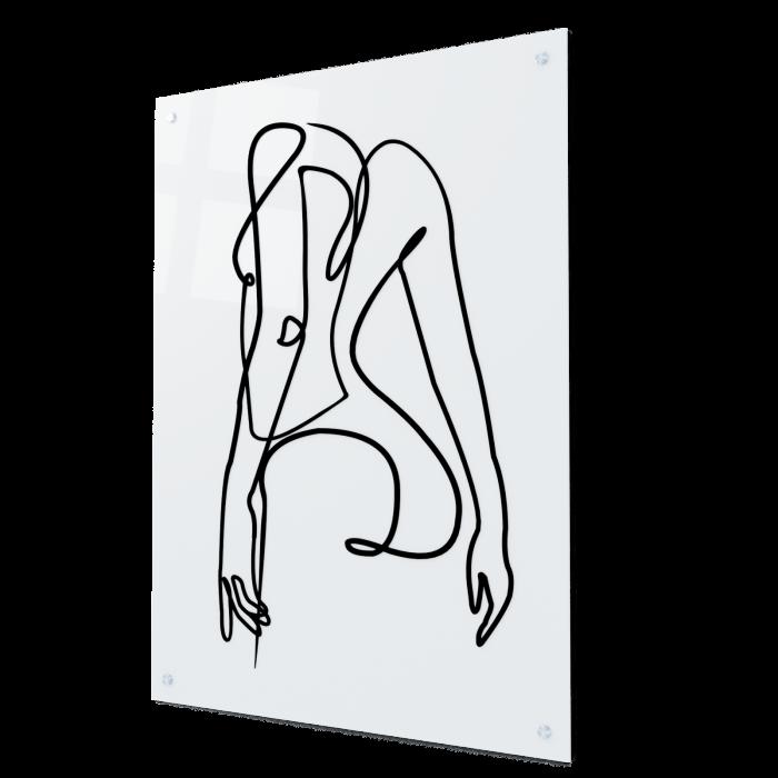 Tablou art line din sticla acrilica - Girl silhouette 0