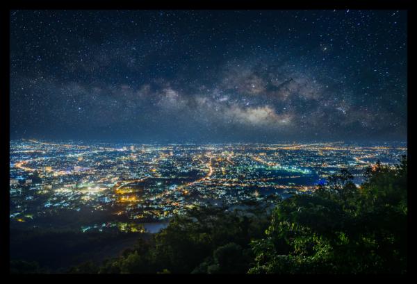 Tablou modern pe panou - city view from mountain Chiang Mai Thailand 0