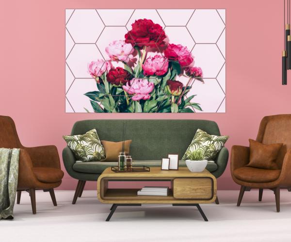 Tablou modern pe panou - pink peony flowers 3