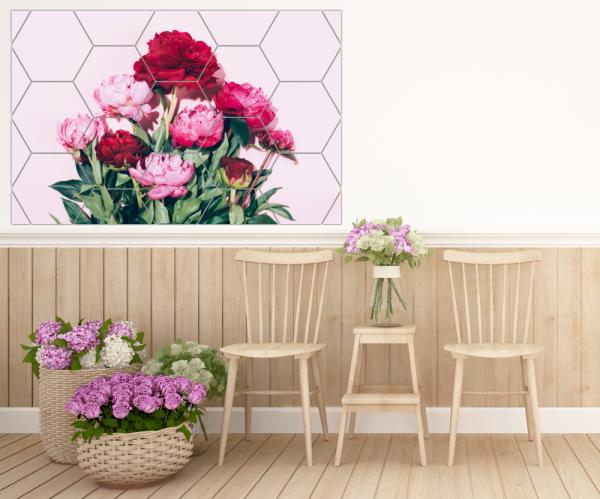 Tablou modern pe panou - pink peony flowers 4
