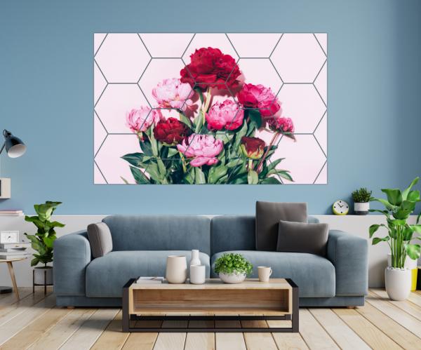 Tablou modern pe panou - pink peony flowers 1