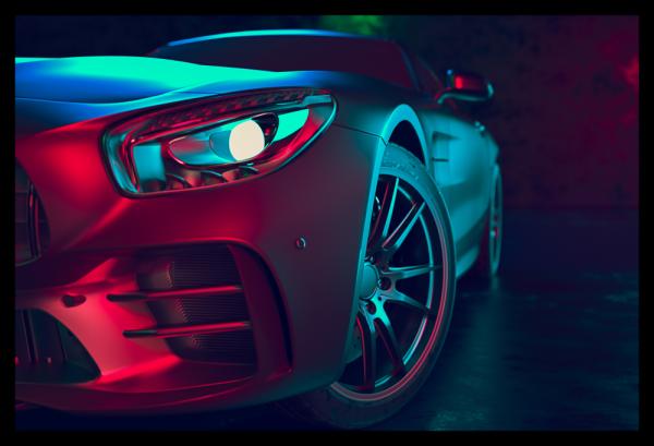 Tablou modern pe panou - beautiful sport car design 0
