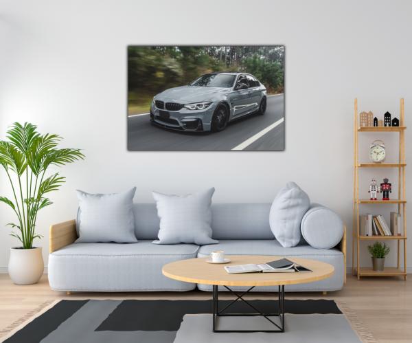 Tablou modern pe panou - silver metallic sport car 1