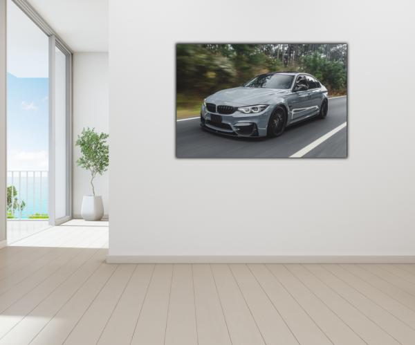 Tablou modern pe panou - silver metallic sport car 3