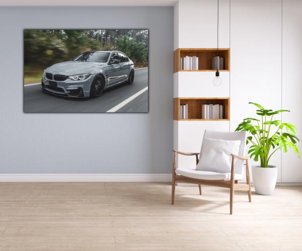 Tablou modern pe panou - silver metallic sport car 4