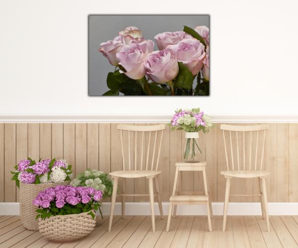 Tablou modern pe panou - bouquet blooming pink roses 4