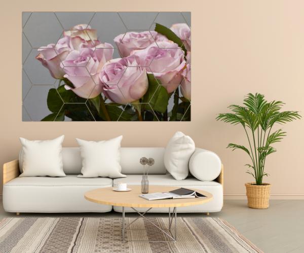 Tablou modern pe panou - bouquet blooming pink roses 7