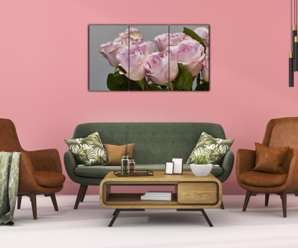 Tablou modern pe panou - bouquet blooming pink roses 13