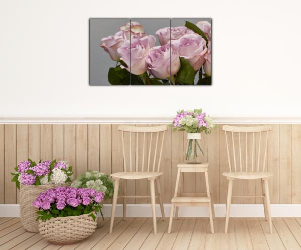 Tablou modern pe panou - bouquet blooming pink roses 14