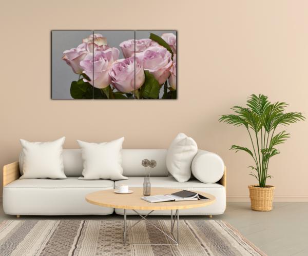 Tablou modern pe panou - bouquet blooming pink roses 12