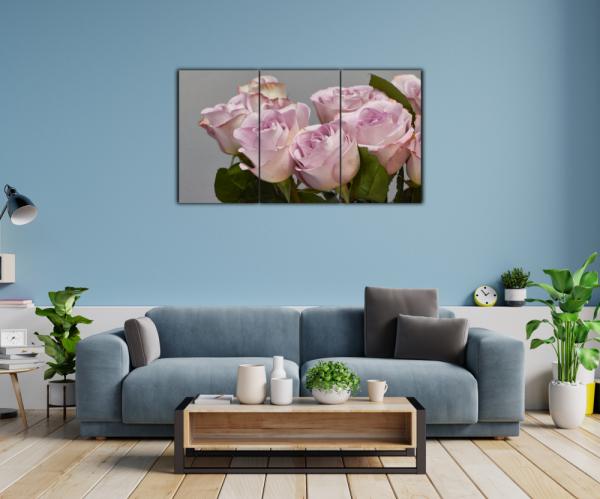 Tablou modern pe panou - bouquet blooming pink roses 11