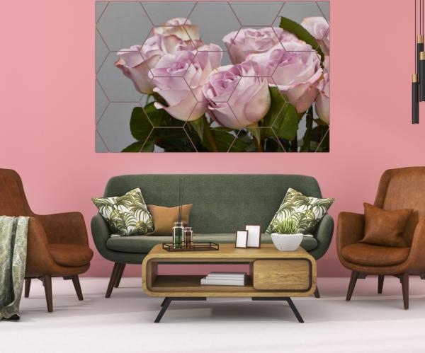 Tablou modern pe panou - bouquet blooming pink roses 8