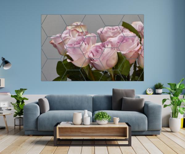 Tablou modern pe panou - bouquet blooming pink roses 6