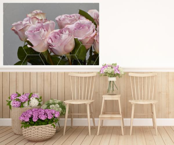 Tablou modern pe panou - bouquet blooming pink roses 9