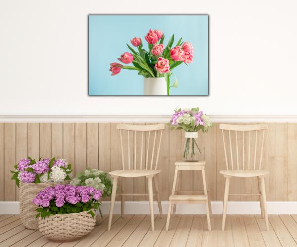 Tablou modern pe panou - bouquet red tulip vase 4