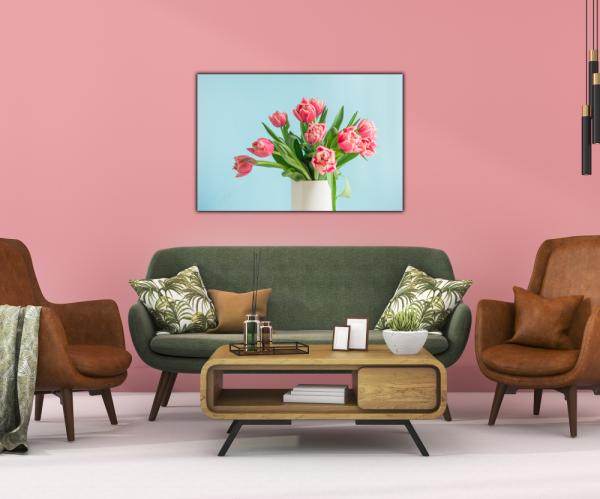 Tablou modern pe panou - bouquet red tulip vase 3