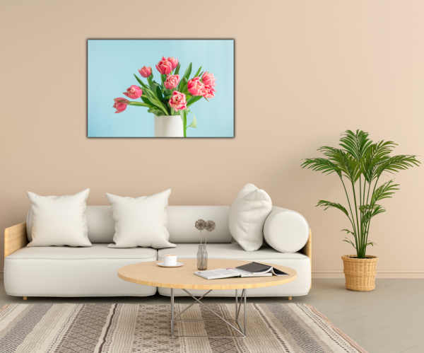 Tablou modern pe panou - bouquet red tulip vase 2