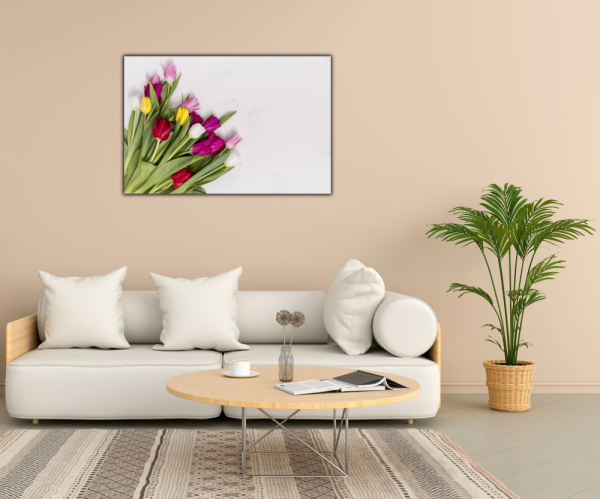 Tablou modern pe panou - colorful tulip flowers 2