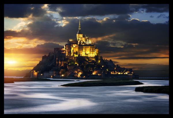 Tablou modern pe panou - France Mont Saint Michel Abbey 0