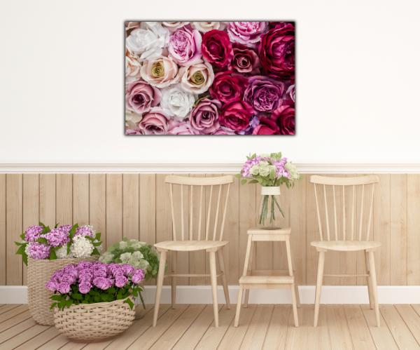 Tablou modern pe panou - pink red white roses 4
