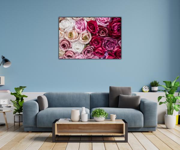 Tablou modern pe panou - pink red white roses 1